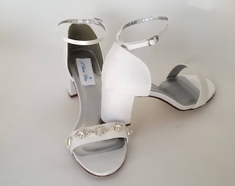 Ivory Wedding Shoes White Wedding Shoes Chunky Heels Ivory Bridal Shoes Lace Bridal Shoes with Diamond Design - PICK FROM 100 COLORS