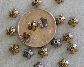 Antique Bronze or Silver Bead Caps 6mm Mix 330