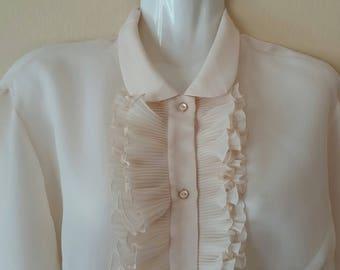 Vintage Blouse,Vintage Blouse from 60s,Long Sleeve Blouse,Beige Vintage Blouse,Vintage Blouse With Ruffled Details,Romantic Vintage Blouse