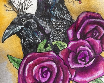 Black birds, Crow, Raven roses original painting.