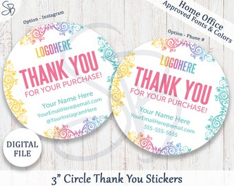 """Thank You Stickers - Personalized - 3"""" Circle - Thank You Cards, Thank You Stickers, Fashion Retailer, LLR Inspired, Home Office Approved"""