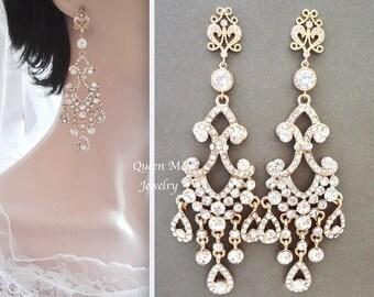 "Yellow Gold crystal chandelier earrings 4"" Long Brides earrings Gold crystal statement wedding earrings Bridal Wedding Jewelry ABRI"