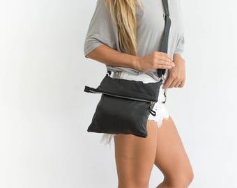 Black Leather Crossbody Bag, Leather Folded Bag, Leather Cross Body, Leather Crossbody Purse, Black leather Fold Over Bag