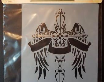 """Cross Wings Stencil 6""""x8"""""""