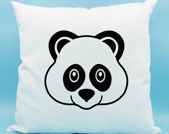 Panda Bear Emoji Pillow - Panda Bear Face Emoji Cushion - Panda Emoji Throw Pillow - Bear Pillow - Bear Throw Cushion Cover