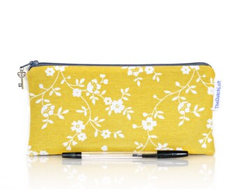 Flower pencil case, Zippered pouch, Yellow Grey pencil case, Lined pouch, School pencil case, Gadget pouch, Make Up bag, Cosmetic case