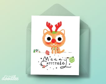 Cat Christmas Card, Funny Cat Card, Meowy Christmas, Funny Christmas Cards, Crazy Cat Lady, Kittens, Funny Puns, Funny Holiday Cards, Cats