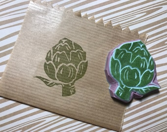 Artichoke rubber stamp / Hand carved rubber Stamp