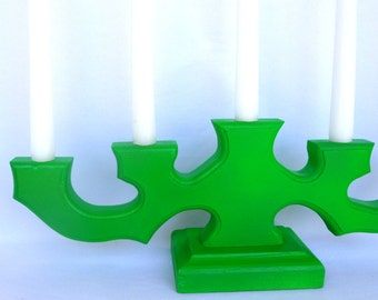NEON GREEN CANDELABRA/ Upcycled Wood Candle Holder