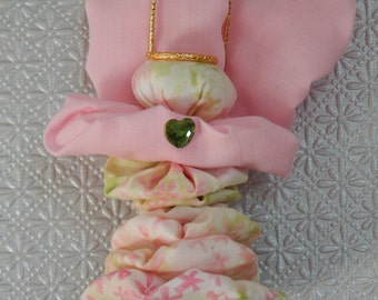 Spring Pink and Green Floral Impression Yo Yo Angel Ornament