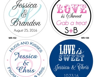 400 - 1.25 inch Personalized Glossy Wedding Stickers Labels - hundreds of designs to choose from - change designs to any color or wording