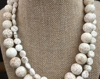 2 Stranded White Magnesite Necklace.