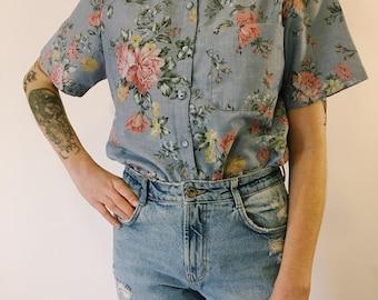 Alfred Dunner Blue Floral Button Up Shirt