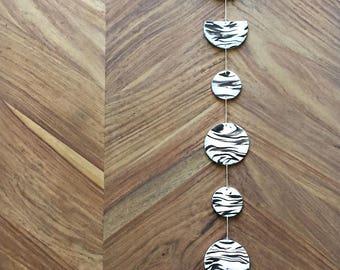 Moon Phases Wall Hanging - White Black Grey, Gifts For Her, Modern Home Decor, Boho Decor, Moon Decor, Black And White Art, Handmade Decor