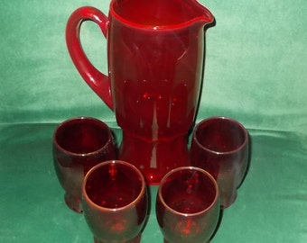 Ruby Glass Drinkware Set Pitcher & Four Tumblers Vintage Red Ruby Glasses Ice Tea Set Lot of Five Pieces Vintage Tableware