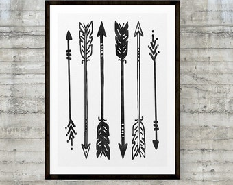 Native American Art, Arrow Wall Art, Tribal Wall Art, Black and White Nursery Art, Nursery Art Print, Native Tribal Woodland Prints