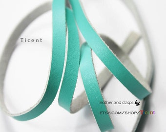 5 Yards 6mm Turquoise Soft Genuine Flat Leather 1.5mm Thick Coated First Layer Leather GF5M-1050
