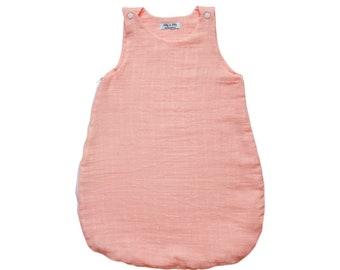 Sommer in Lange SleepSack - Koralle Rose - Bettwäsche Baby handgefertigt in Frankreich