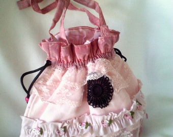 upcycled purse, pink victorian bag, pink reticule, steampunk purse, steampunk bag, pink evening bag, pink formal bag