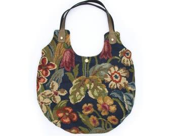 Handmade Shoulder Bag of Vintage Arts & Crafts Style Floral