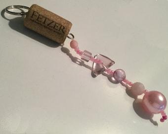 Wine Cork Keychain, Beaded Keychain, Wine Lover, Cork Craft, Original Design, Made in USA