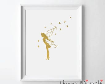 Fairy and Butterfly Gold Foil Print, Gold Print, Fairy Angel Print, Fairy Gold Print, Girl's Room Wall Art, Fairy and Butterfly Gold Print