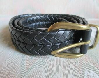 Coach Black Leather Woven Belt #5922  SZ 40 inch.