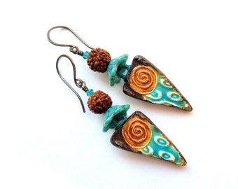 Artisan earrings, rustic, Boho, OOAK, glazed ceramic, lampwork glass, Czech glass, teal, golden brown, organic, lightweight, casual
