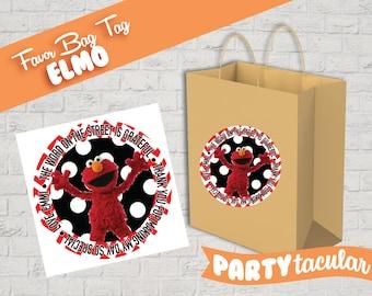 Sesame Street Elmo Favor Tag Sticker
