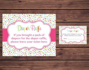 Pink Baby Shower Diaper Raffle Tickets, Pink Sprinkle Baby Shower Diaper Raffle Insert Card Ticket, Instant Download Printable