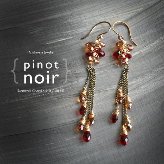 Pinot Noir - Swarovski Pearls and Crystal 14k Gold Fill and Brass Wrapped Long Earrings