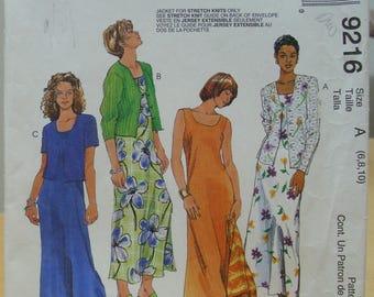 McCall's 9216 Sleeveless dress and jacket sewing pattern 6 8 10 UNCUT