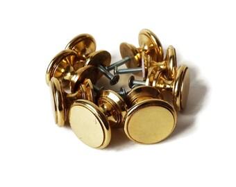 8 Vintage Round Solid Brass Knobs with Screws,   Brass Drawer Pulls,  Brass Hardware, Kitchen Bathroom Hardware