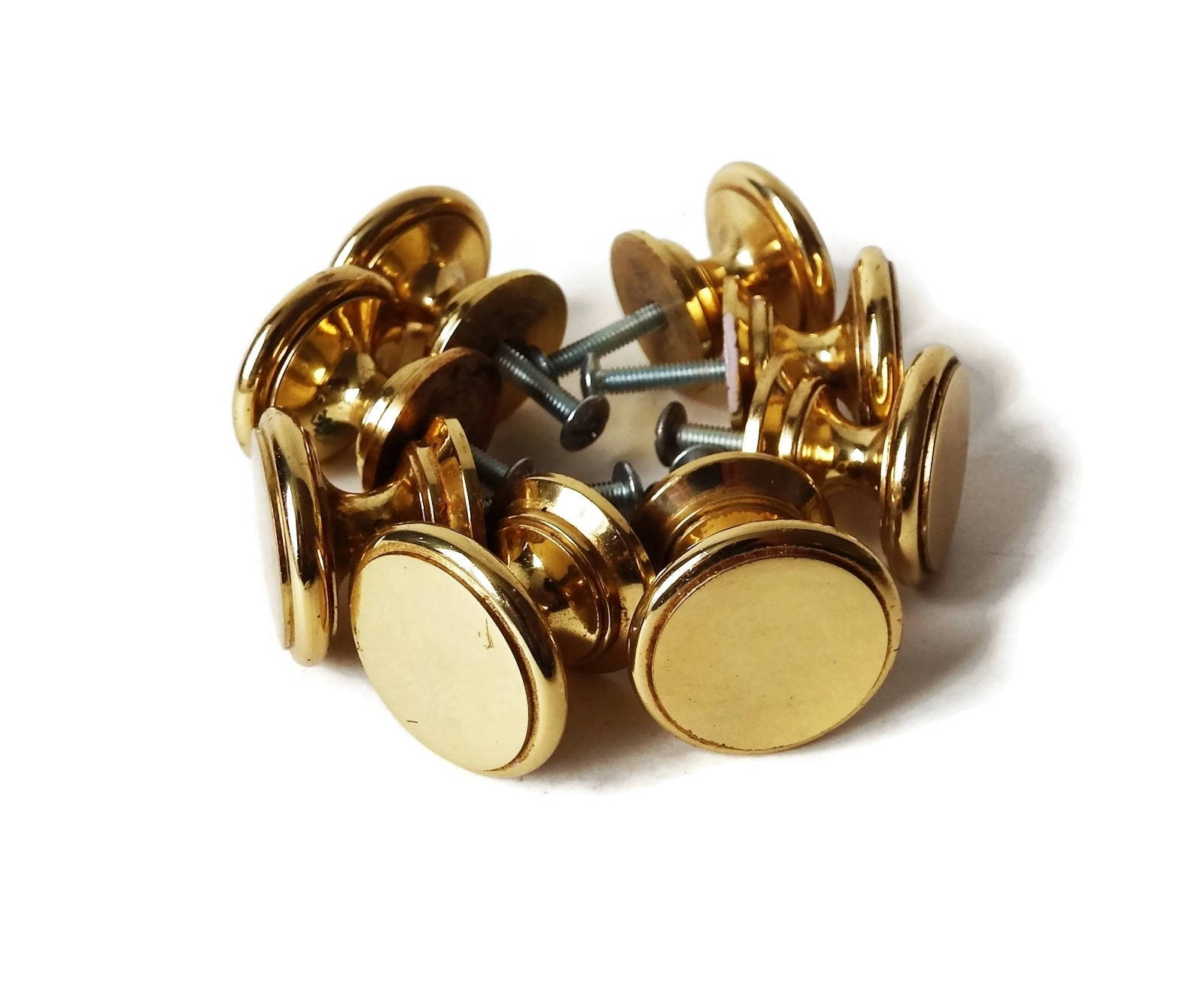 8 perillas vintage redondo latón con tornillos, tiradores de bronce ...
