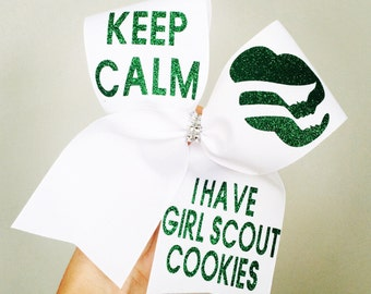 Girl Scout Hair Bow cheer bow scouts white and green glitter