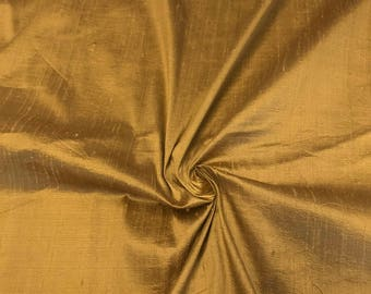"Antique Gold 100% Pure Silk Dupioni Fabric 54""Wide BTY Drape Blouse Dress Craft FREE SHIPPING"