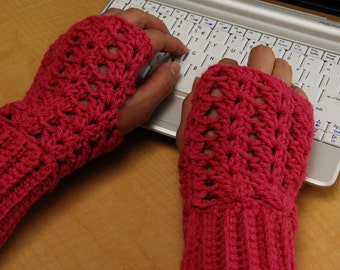 crochet fingerless glove wrist warmer gauntlet pink wristlets