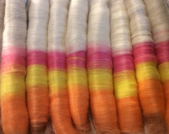Alpaca Rolags, Pure Suri Alpaca Rolags, Pure Suri Alpaca, Spinning Rolags, Orange Yellow Pink and White