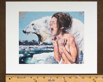 "Fine Art Print, Archival Print, Giclee Print of Figurative Painting of Screaming Nude Female and Polar Bear - ""Meltdown"""