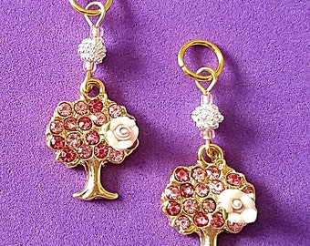 Hearing Aid Charms: Pink Jeweled Flowering Spring Trees with Silver Plated and Glass Accent Beads!