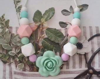 Silicone Flower beaded Teething Necklace, Nursing Necklace, Sensory Beads, Teething Beads, BPA Free, Fidget Jewelry,