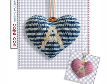 Personalised Hanging Heart decoration knitting pattern