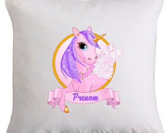 Unicorn pillow personalized with text of your choice