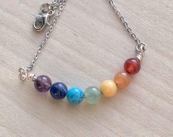 Chakra Necklace//Rainbow Necklace//Beaded Chakra Necklace//Beaded Necklace//Chakra Jewelry//Healing Chakra Necklace