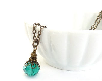 Teal Blue Necklace - Antique Inspired Pendant - Bronze Chain - Simple Victorian Necklace - Jewelry Gift