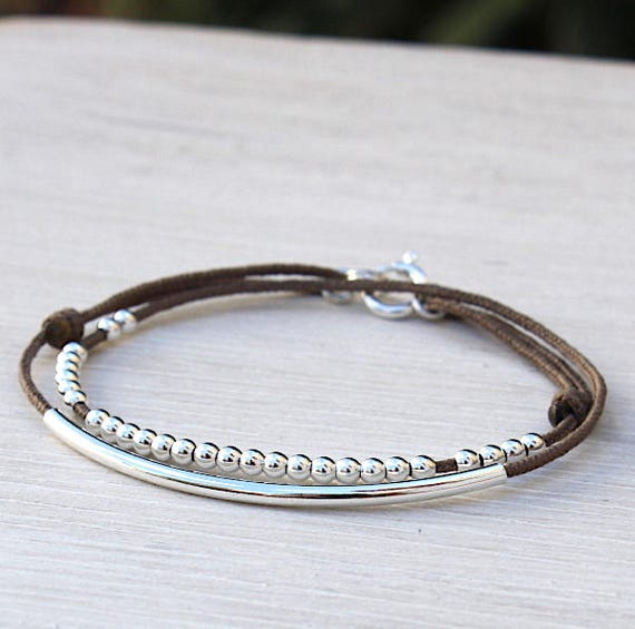 cord bracelet double rounds Bangle and 925 Silver beads