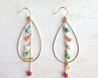 Lu'au luau, colorful teardrop shaped earrings