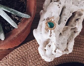 Golden Crown Ring Green