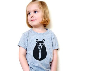Hipster Toddler Clothes | Fairytale Gift |Hipster Kids Clothes, Hipster Kids Tshirt, Trendy Kids Clothes, Bear with Glasses Tshirt