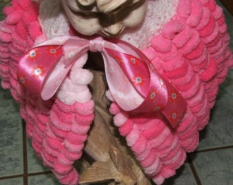 Cape or heater shoulder wool 18-24 months baby pink and white PomPoms